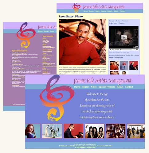 Portfolio Image of Joanne Rile Artists Management Website