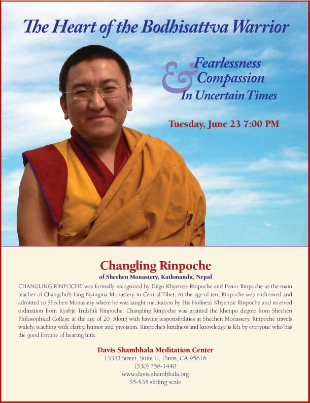 Image of Flyer for Changling Rinpoche Teaching