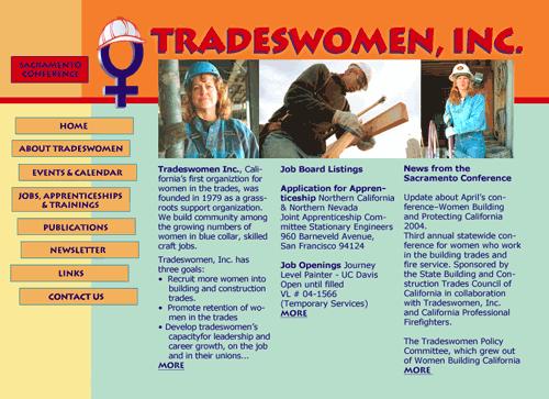 Image of Tradeswomen.org website